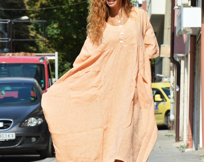 Fall Linen Casual Dress, Folded Sleeve Orange Dress, Women Loose Kaftan, Sexy Short Sleeves Top by SSDfashion