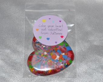 School Class Valentine Favors, Heart Party Favors, Recycled Crayons and Heart Stickers /20 Heart Crayons and 20 Stickers.