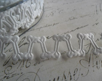 White Satin Bones Ribbon Trim