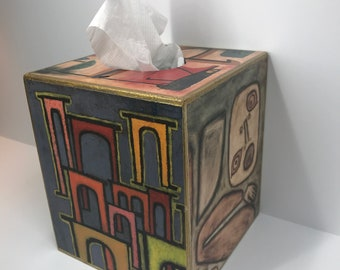 up-cycled klee tissue holder