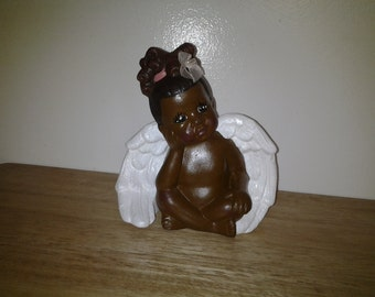 Lil Sitting Angel Girl Pink Bow