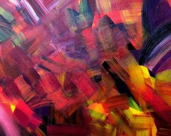 "Abstract Original Acrylic Painting, 9"" x 12"" Modern Wall Art Home Decor"