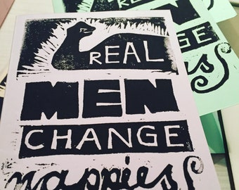 Real Men Change Nappies Handprinted Linocut Card