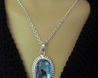 Genuine Abalone Shell  Necklace and Earring and Ring Set