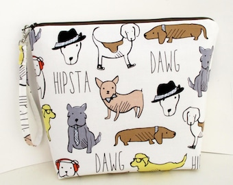 Dawg Tall Zippered Pouch, Hipster Dogs Cosmetic Bag, Project Bag