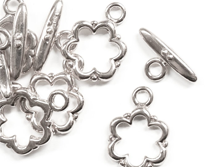 Clasp, Toggle, 13mm, Silver - 5 Sets (CLASP-TG03)