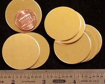 "18 gauge solid Brass circle disc with or without holes - 1-1/4"" round - Stamping Tags Label pendants luggage and more"
