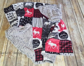 Buffalo Plaid Adventure Blanket- Baby Boy- Woodland- Nursery- Baby Blanket-Moose