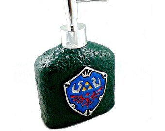 Hylian Shield Soap Dispenser, Legend of Zelda bath decor, Link soap pump