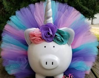 Light Pink, Lavender & Aqua  Unicorn Tutu Piggy Bank, Girls Piggy Bank, Unicorn Room Decor, Unicorn Gift, Unicorn Party Decor