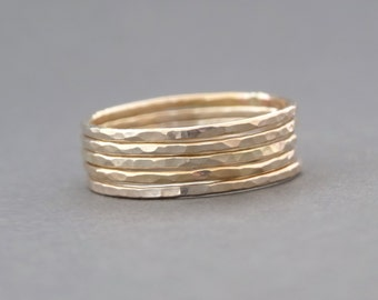 Super Thin Gold Rings gift for mum hammered stacking rings gold ring thumb ring or midi ring