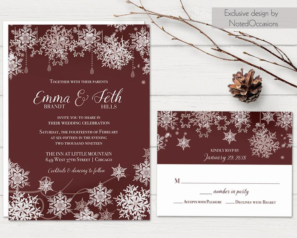 Winter Wedding Invitation Set Snowflake Wedding Marsala Wine