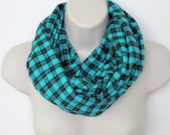 turquoise plaid infinity scarf, flannel Infinity Scarf -Circle Scarf -plaid Loop Scarf, woman Eternity Scarf, Fall Scarf, Winter Scarf