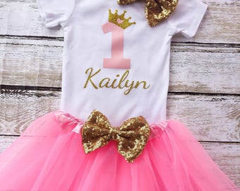 Pink and Gold First Birthday Shirt with Crown, First Birthday Princess Outfit, Pink and Gold Princess Shirt, Princess Birthday Outfit