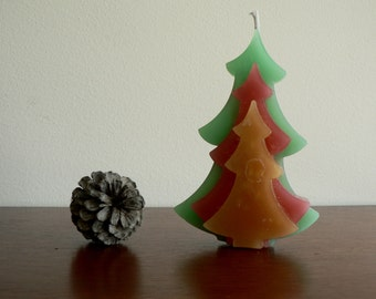 "Christmas tree candle 6,3"" tall / Green, red and yellow coloured pine scented candle / Christmas decor / Christmas gift idea / Home decor"