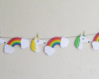 Banner, Bunting, Sign, Party Bunting, Party Banner, Party Sign, Unicorns and Rainbows