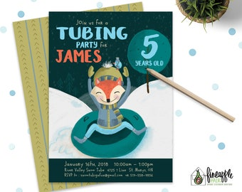 Tubing birthday Party Invitation Boy digital download custom Diy Winter Sledding Snow Fox teal cute