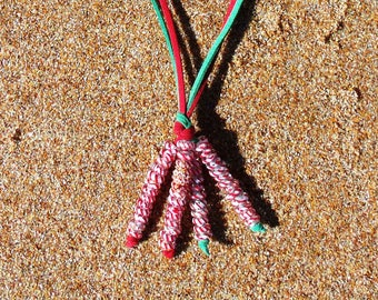 SALE  Red and Green Suede & CANDY CANE Beads Christmas Dangle Necklace