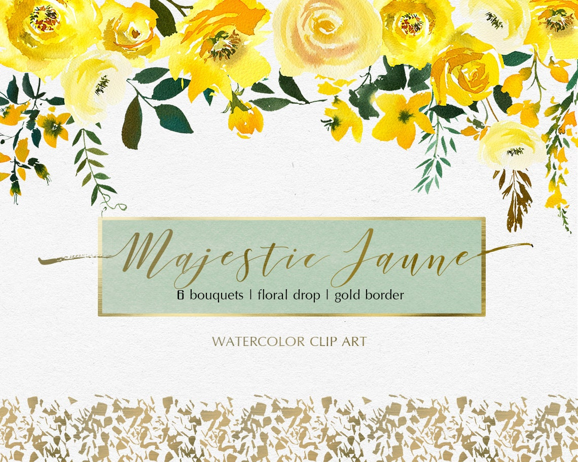 Yellow Watercolor Flowers Peonies Roses Clipart Set Wedding