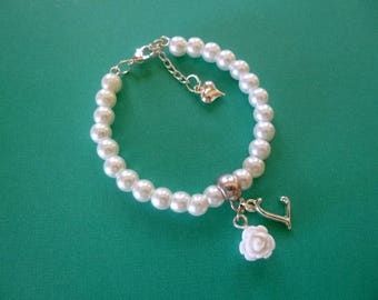 Personalized Flower Girl Bracelet, Pearl Flower Girl Bracelet, Personalized Pearl Flower Girl Bracelet, Personalized Childrens Jewelry, Gift
