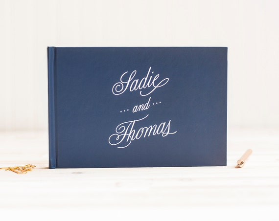 Wedding Guest Book Personalized Guest Book landscape horizontal Guest Sign In Book navy wedding book hardcover wedding book wedding planner