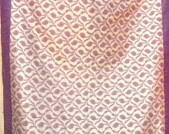 ON SALE Paisley cutwork plum sari fabric semi sheer fabric by the yard