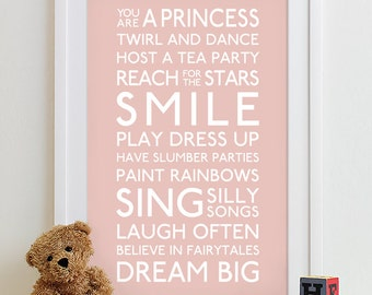 Baby girl nursery decor, girl wall art, baby girls room, girls decor, girl nursery wall art, girl print Family Playroom Rules Sign