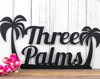 Palm Tree Custom Name Metal Sign   Tropical   Beach   Ocean   Beach House Sign   Metal Wall Art   Outdoor Sign   Custom Sign