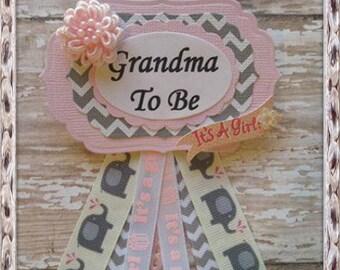 Elephant Theme Pink and Grey Chevron Grandma To Be Corsage Pink and Grey Baby Shower Pink and Grey Chevron Mommy To Be Corsage