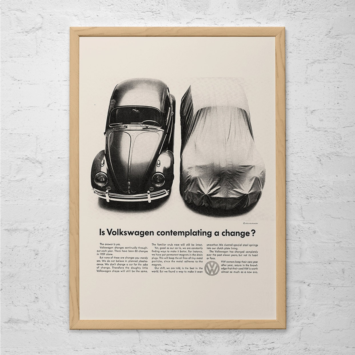 VOLKSWAGON BEETLE AD Classic Car Ad Retro Beetle Poster