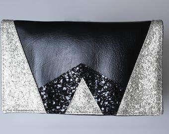 Tür Scheckheft Grafik schwarz und Silber glitter