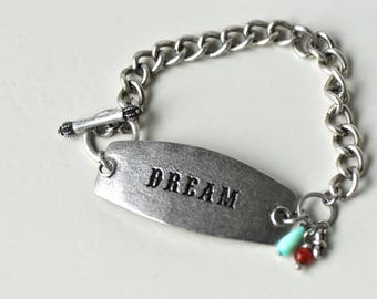 Inspirational Silver Bracelet- Dream Bracelet- Quote Bracelet- Encouragement Bracelet- Boho Bracelet- Dream- Inspirational- Gift for Her