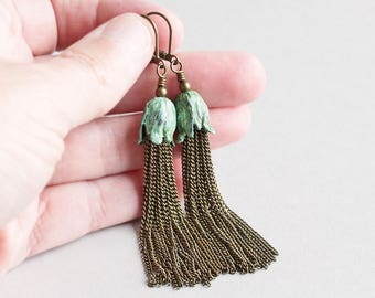 Antiqued Brass Chain Earrings with Aged Patina Flower, Long Dangles, Handmade Tassel Earrings, Patina Jewelry