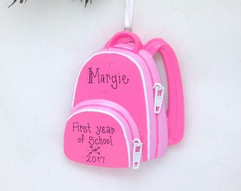 Bright Pink Backpack Personalized Christmas Ornament / First Day of School / Toddler and Child Ornament / School Ornament