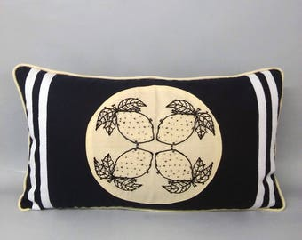 When life gives you lemons embroidered rectangle cushion