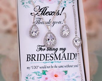 Bridesmaid Earrings Bridesmaid Jewelry Set Bridesmaid gift set Bridal party gift Maid of honor gift Crystal earrings Cubic zirconia earrings