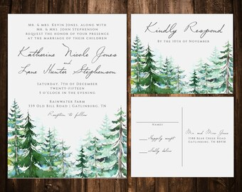 Watercolor Trees Rustic Wedding Invitations; Mountain; Printable OR set of 25
