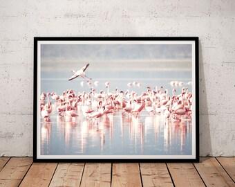 Estampes numériques des flamants affiche, art imprimable flamant rose, décor tropical à la maison, art mural flamant rose, imprimés téléchargeables, imprimé de flamants roses,