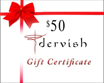 Dervish Clothing 50 Dollar Gift Certificate