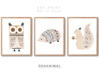 Woodland nursery, Owl Print, Squirrel Print, Hedgehog Print, Animal illustration, Animal Art print, Woodland animal, Nursery room deocr