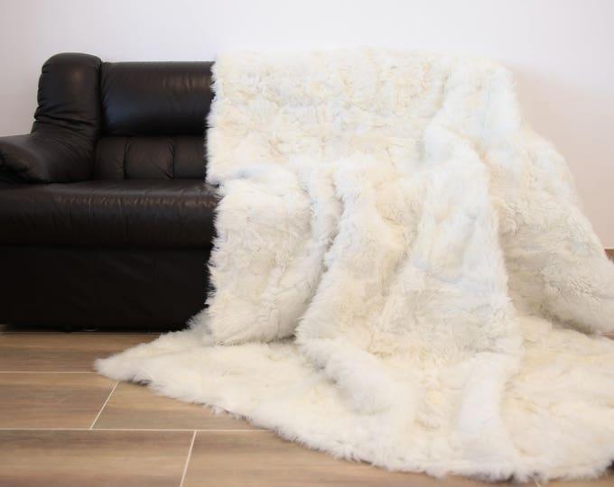Exclusive Toscana Sheepskin Real Fur Throw | Real Fur Blanket | White Fur Throw | 150x200cm