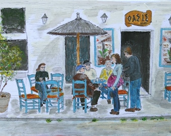 Watercolor painting of a Coffee Shop