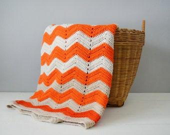 Vintage Afghan - Orange Home Decor - Chevron Afghan - Orange Nursery Decor - Chevron Blanket - Knitted Afghan - Orange Chevron Blanket