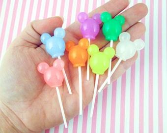 3 Pastel Mouse Ear Lollypops, Faux Candy, #765