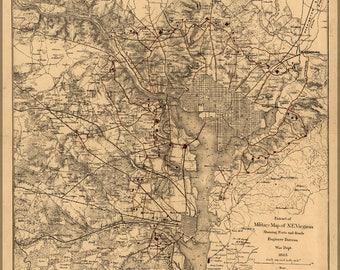 Poster, Many Sizes Available; Map Of Civil War Defenses Of Washington, D.C. In 1865