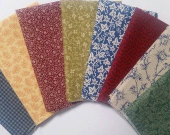 8 Assorted Calico Cotton Fabric Scraps, Fat Sixteenths, Stash Builder, Quilting, Sewing, Crafting, Junk Journal, Planners