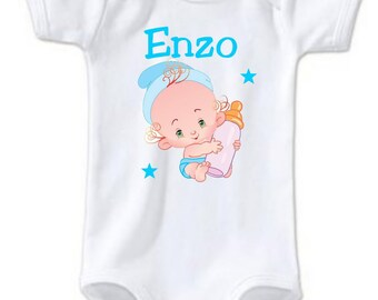 Bodysuit baby bottle personalized with name