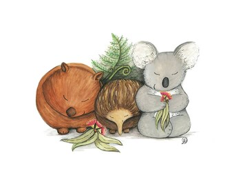 Native Australian Babies – With Koala, Wombat and Echidna
