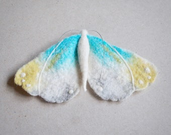 Textile moth brooch by The Lady Moth - needle felted - wet felted - moth jewellery - art nouveau moth - UK