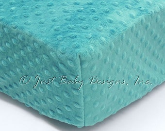 Fitted Crib Sheet - Minky Dot Teal